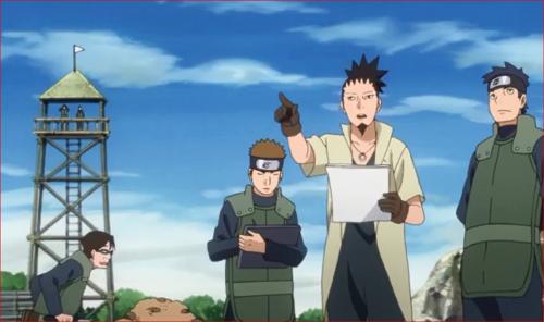 アニメBORUTO66話、復興工事を指揮するシカマル、後ろにカタスケが?