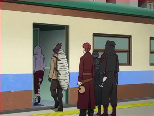 アニメBORUTO66話、扉が開き、車両に乗り込むヨドとアラヤ