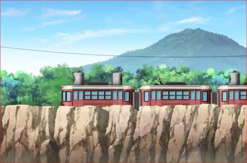 アニメBORUTO66話、雷車の上で座るボルトとシカダイ