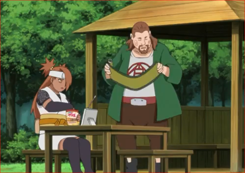 アニメBORUTO67話、巻物にサインを求められるチョウジ