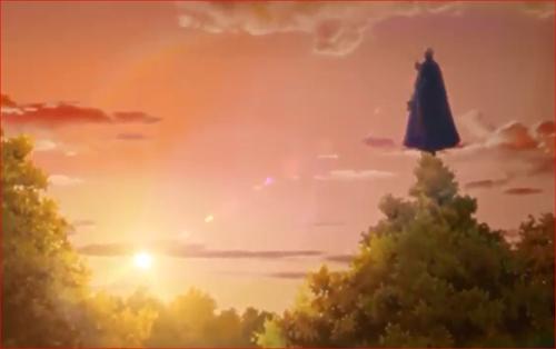 アニメBORUTO68話、夕日を浴びて木の上に立つガスマスク男