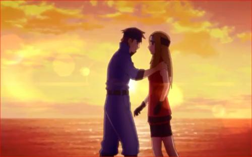 アニメBORUTO68話、夕日を背に語るトマルとアシナ
