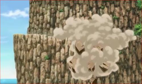 アニメBORUTO69話、崩れ落ちる岩石