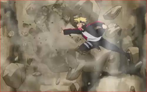 アニメBORUTO69話、風遁・烈風掌で岩を砕くボルト