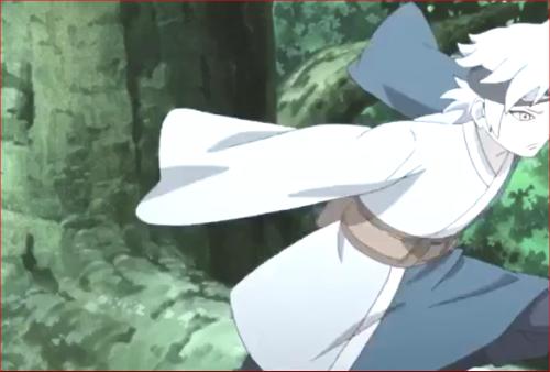 アニメBORUTO第73話、ヤマトに気付かれたと察して逃げるミツキ