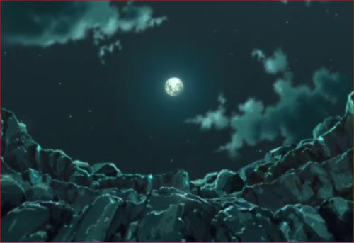 アニメBORUTO第73話、月を見上げる二人