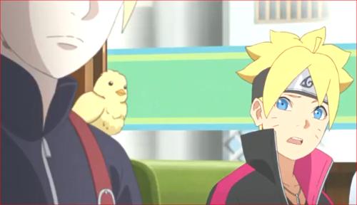 アニメBORUTO71話、いのじんの肩にヒヨコがw
