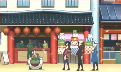 アニメBORUTO71話、オオノキの買い物の荷物を持つ第七班一行w
