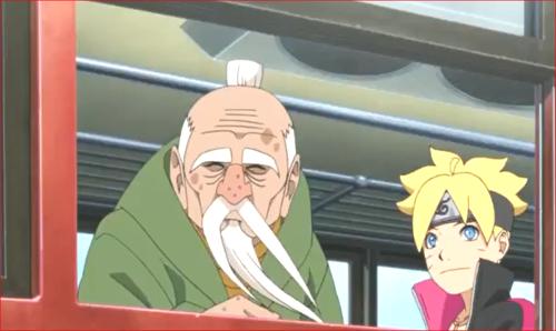 アニメBORUTO71話、雷車に乗るオオノキ