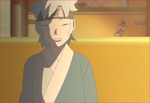 アニメBORUTO72話、ボルトの前に座り微笑むミツキ…