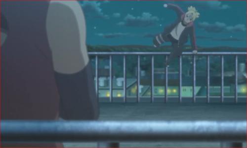アニメBORUTO72話、正門の上で待ち構えるサラダ
