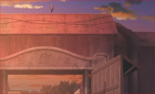 アニメBORUTO72話、正門の上に腰掛けるボルト
