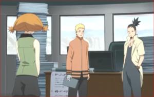 アニメBORUTO76話、ナルトに任務報告するモエギ