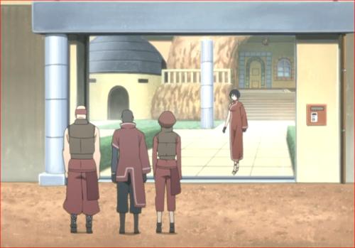 アニメBORUTO第80話、オオノキの戻りを迎える側近と警護の者たち