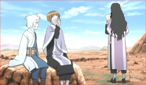 アニメBORUTO第80話、セキエイにあくびの仕方を指導するミツキ
