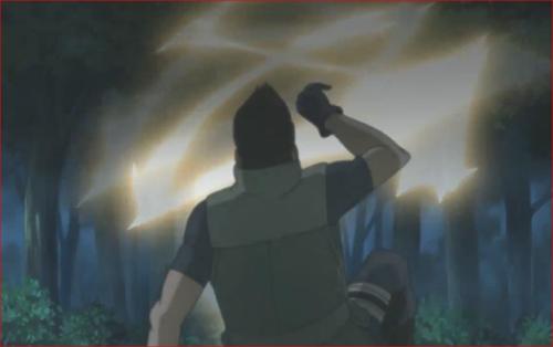 アニメBORUTO第80話、上空からミツキが雷遁を放ちます
