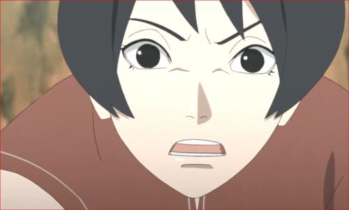 アニメBORUTO第80話、空の顔を見て、動きを止める黒ツチ