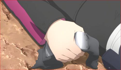 アニメBORUTO81話、ミツキの額当てを握りしめるボルト