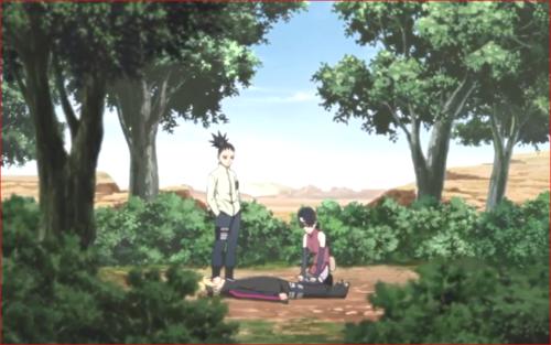 アニメBORUTO81話、森の中でボルトを介抱するサラダ