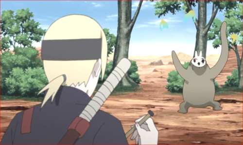 アニメBORUTO81話、超獣戯画の小鳥と戯れるチビ芥