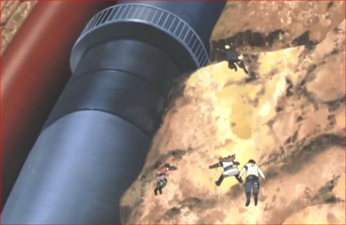 アニメBORUTO82話、点検用の扉から侵入するボルトたち