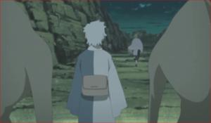 BORUTO79話、セキエイは、ミツキに見張りを付け、二人の忍者の元に向かいます