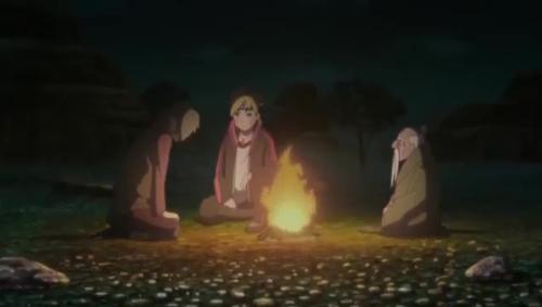 Boruto 85_たき火を囲んで話す三人