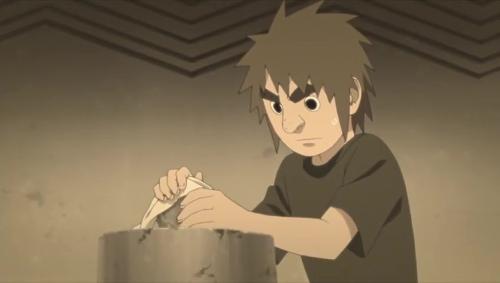 Boruto 85_石磨きをしているオオノキ