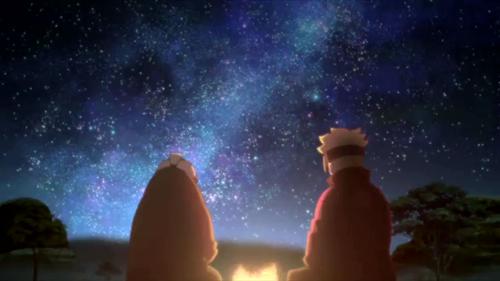 boruto84.三途河原で夜空を見るオオノキとボルト