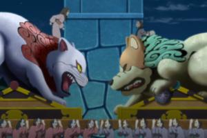 アニメBORUTO107話、アイキャッチ、犬神、猫神の上に乗るキバとタマキ