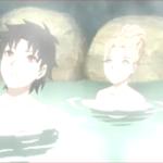 アニメBORUTO110話、アイキャッチ、温泉に浸かるミライとタツミ
