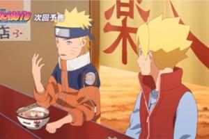 アニメBORUTO133話、アイキャッチ画像、一楽で話す少年ナルトとボルト