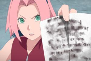 アニメBORUTO136話、アイキャッチ画像、サスケを問い詰める少女サクラ