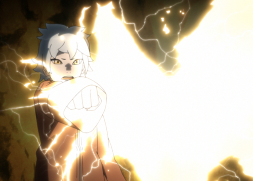 アニメBORUTO146話、アイキャッチ画像、雷遁を放つミツキ