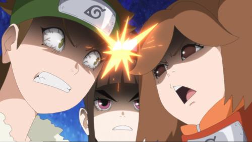 アニメBORUTO153話、アイキャッチ画像、互いに競い合う第十五班