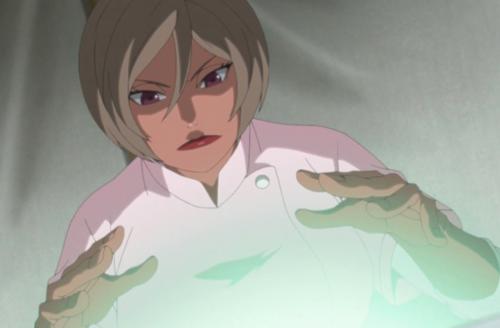 アニメBORUTO第159話、アイキャッチ画像、ミツキに医療忍術を施すユビナ