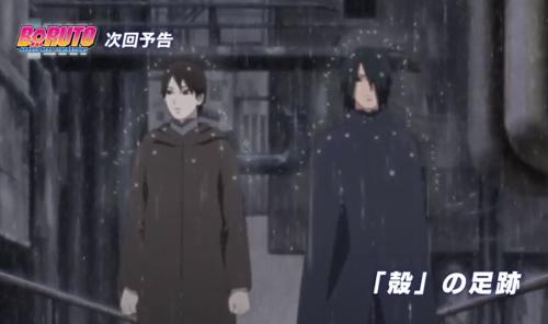アニメBORUTO157話、アイキャッチ画像、雨隠れの里を歩くサスケとサイ
