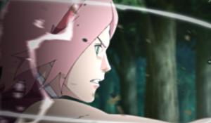 アニメBORUTO171話、アイキャッチ画像、サラダに修行をつけるサクラ