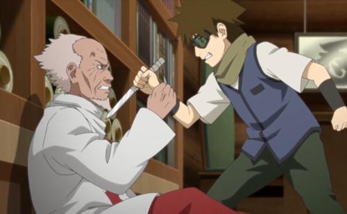 アニメBORUTO180話、アイキャッチ画像、三代目火影・ヒルゼンとムギノ
